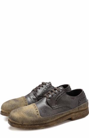 Кожаные дерби на шнуровке с внутренней меховой отделкой Rocco P.. Цвет: темно-коричневый