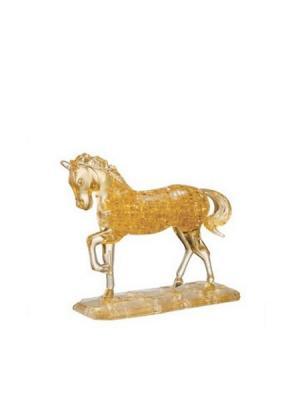 Головоломка 3D Лошадь золотая Crystal puzzle. Цвет: черный, белый, желтый