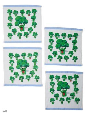 Набор кухонных салфеток, Чудеса с грядки - 4шт. (32*32) Dorothy's Нome. Цвет: белый, зеленый, голубой