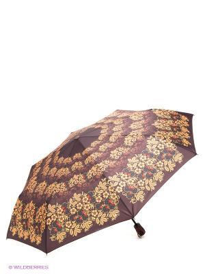 Зонт RAINDROPS. Цвет: темно-коричневый, желтый