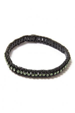 Черный браслет с кристаллами Philippe Audibert. Цвет: серебряный