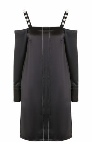 Шелковое платье-миди с открытыми плечами 3.1 Phillip Lim. Цвет: черный