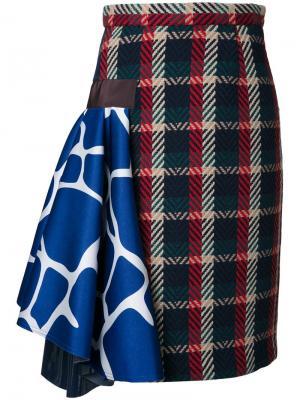Клетчатая юбка Kolor. Цвет: многоцветный