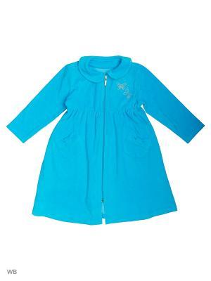 Велюровый халат для девочек SOFT SECRET. Цвет: бирюзовый
