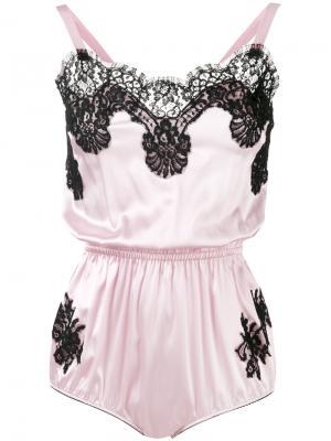 Комбинация с кружевной отделкой Dolce & Gabbana. Цвет: розовый и фиолетовый