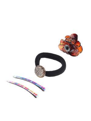 Комплект аксессуаров для волос Gusachi. Цвет: розовый, желтый, черный, коричневый, голубой