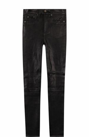 Однотонные кожаные брюки-скинни Rag&Bone. Цвет: черный