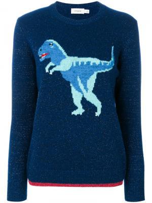 Свитер с вязаным рисунком T-Rex Coach. Цвет: синий