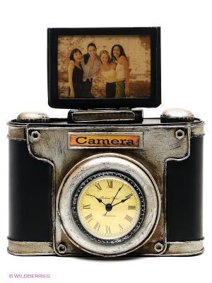 Фоторамка с часами Фотокамера 2фото 6х9см PLATINUM quality. Цвет: черный