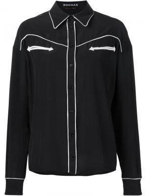 Рубашка Row с контрастной окантовкой Rochas. Цвет: чёрный