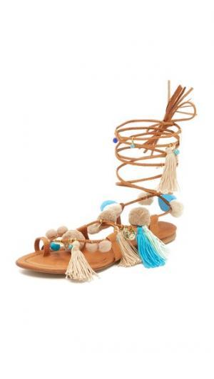 Сандалии Santorini на шнуровке с помпонами Alameda Turquesa. Цвет: синий мульти
