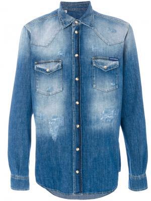 Выбеленная джинсовая рубашка Dolce & Gabbana. Цвет: синий