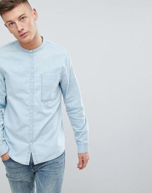 New Look Голубая выбеленная джинсовая рубашка с воротником на пуговице. Цвет: синий
