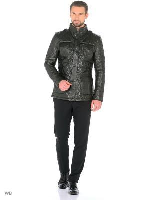 Стеганая кожаная куртка MONDIAL. Цвет: зеленый