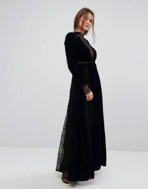 Frock and Frill Бархатное платье макси с тиснением и кружевными вставками Fr. Цвет: темно-синий