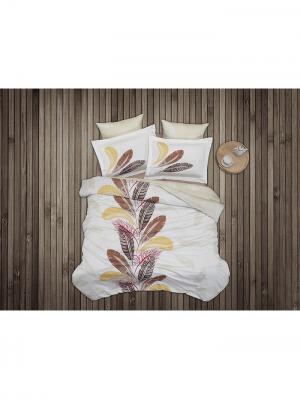 Комплект постельного белья ЕВРО БАМБУК MARIPOSA. Цвет: бежевый, белый, желтый, коричневый