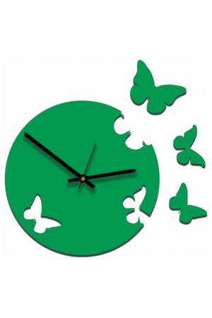 Часы Живые бабочки W-ERA. Цвет: зеленый