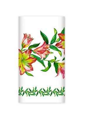 Одноразовая бумажная скатерть с рисунком, Лилии, 20х180 см Bulgaree Green. Цвет: светло-зеленый, белый, розовый