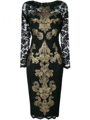 Платье-миди с расшитым кружевом Olvi´S. Цвет: чёрный