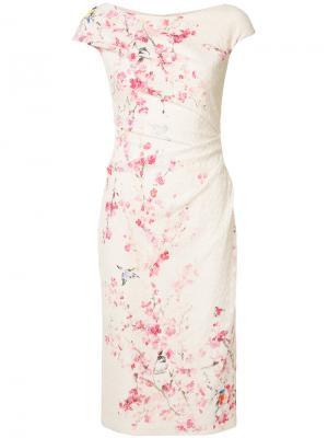 Платье с цветочным узором Monique Lhuillier. Цвет: белый