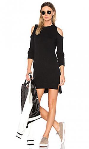 Вязаное платье с открытыми плечами asheville Central Park West. Цвет: черный