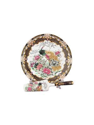 Подставка под торт Павлин на золоте  с лопаткой Elan Gallery. Цвет: золотистый, синий, коричневый, розовый