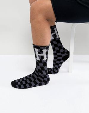 HUF Черные носки в клетку. Цвет: черный