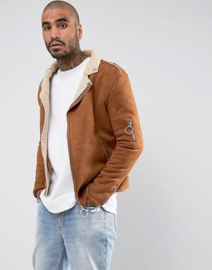 Sixth June Светло-коричневая байкерская куртка из искусственной овчины. Цвет: рыжий