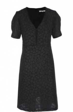 Приталенное платье с V-образным вырезом Gerard Darel. Цвет: темно-синий