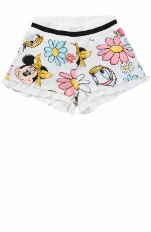 Хлопковые шорты с принтом и оборками Monnalisa. Цвет: белый
