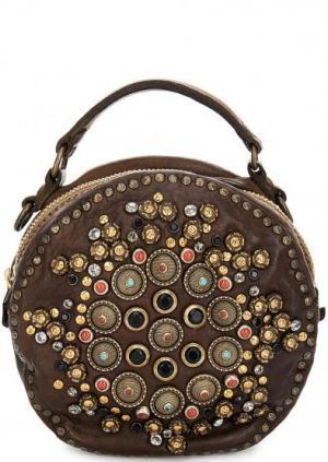 Круглая кожаная сумка на молнии Campomaggi. Цвет: коричневый