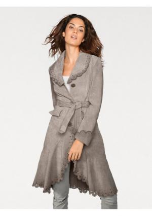 Кожаный плащ Linea Tesini. Цвет: серо-коричневый
