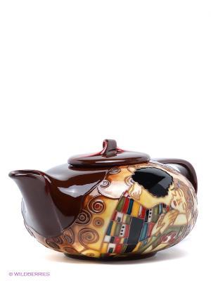 Заварочный чайник Поцелуй Pavone. Цвет: темно-коричневый, желтый