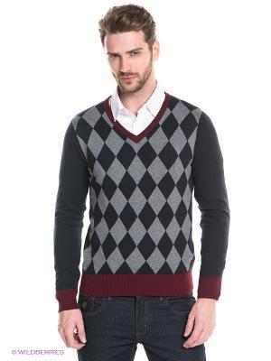 Пуловер Sweet years. Цвет: темно-синий, серый, бордовый