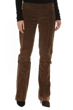 Прямые брюки с застежкой на молнию Roccobarocco. Цвет: хаки