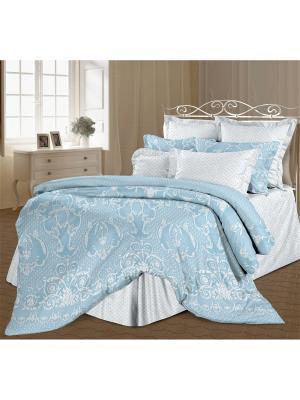 Комплект постельного белья 1,5 перкаль Вивальди Романтика. Цвет: светло-голубой, белый