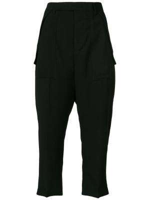 Укороченные брюки с заниженной проймой Rick Owens. Цвет: чёрный