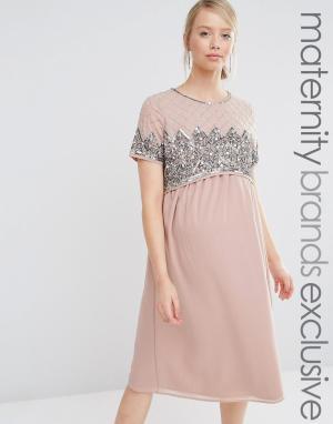Maya Maternity Двухслойное платье миди с отделкой на лифе. Цвет: фиолетовый