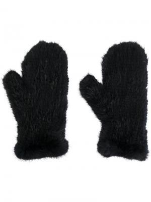 Перчатки Four Queues Yves Salomon. Цвет: чёрный