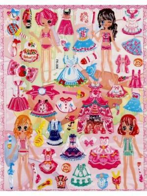 Наклейки наряди куклу, набор 3 штуки Радужки. Цвет: розовый, желтый