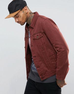 ASOS Бордовая джинсовая куртка зауженного кроя. Цвет: красный