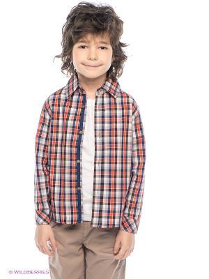 Рубашка PlayToday. Цвет: рыжий, белый, темно-синий, серый, коричневый