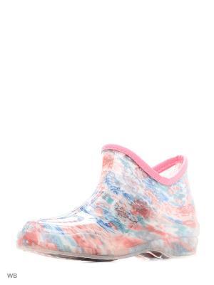 Резиновые полусапожки из поливинилхлоридной композиции женские. BRIS. Цвет: светло-голубой, бледно-розовый