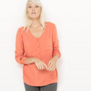 Блузка из струящейся ткани с V-образным вырезом и небольшим карманом R édition. Цвет: оранжевый,синий морской,слоновая кость