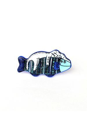Брошь Котик на рыбке (глазурь) НечегоНадеть. Цвет: голубой