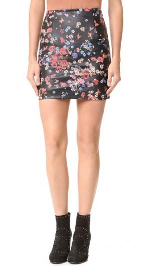 Мини-юбка из кожи с цветочным принтом The Kooples. Цвет: голубой