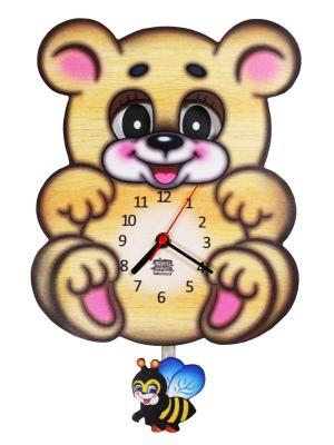 Часы ходики с маятником и подвижными глазками Мишутка Медолюб Ларец Чудес. Цвет: светло-коричневый,розовый