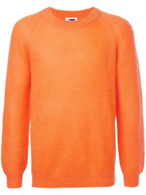 Свитер с  круглым вырезом в рубчик H Beauty&Youth. Цвет: жёлтый и оранжевый