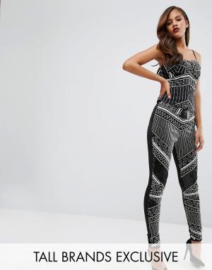 Maya Tall Зауженные брюки с отделкой спереди. Цвет: черный