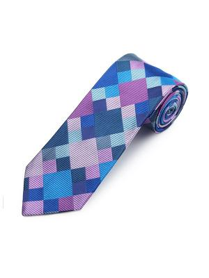 Галстук Sloe Checked Square Duchamp. Цвет: темно-синий, бледно-розовый, лазурный, светло-голубой, темно-серый